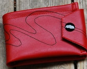 Large Red Vinyl Wallet with Black Stitched Wave
