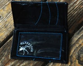Black Leather Wallet with Blue Lines