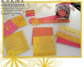 ELEGANT AND SEXY TROPICAL HAWAIIAN WEDDING. Theme colors include pineapple yellow, nature brown, sexy pink. Set includes Invitation, Save the Date Card, Thank you Card, Seating Card, Favor Labels, Table Number Card. Custom Order Welcome.