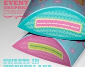 SWEETS IN WONDERLAND/PILLOW SHAPE GIFT BOX. Perfect as a gift box, party favor, or use as a company packaging. A printable file for easy craft folding. Fits to print on letter size paper stock.