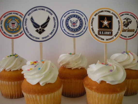 Items Similar To Military Welcome Home Cupcake Toppers Set Of 12 Customizable On Etsy