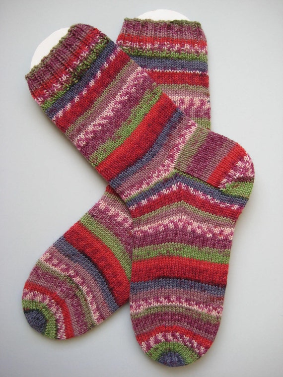 hand knit womens wool socks, UK 4-6 US 6-8