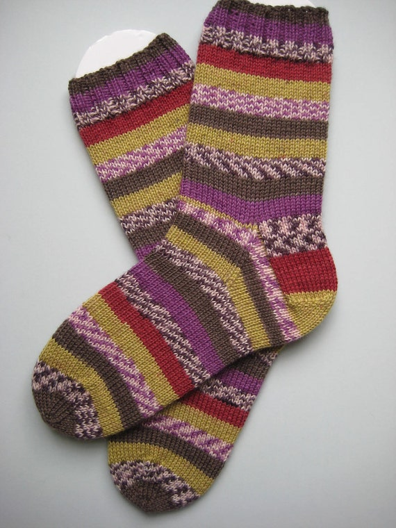 hand knit women's merino wool socks, UK 5-7 US 7-9