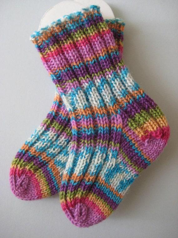 hand knitted merino wool baby socks, 0-3 months
