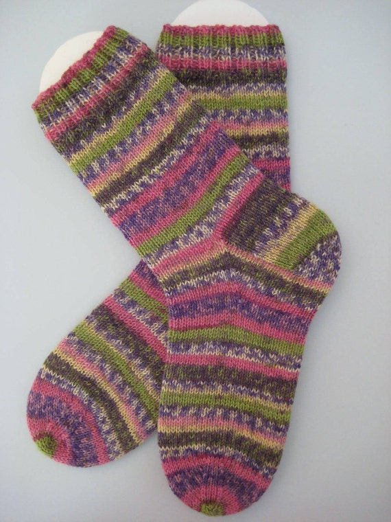 hand knit womens wool socks, UK 5-7 US 7-9 RESERVED for Sharon