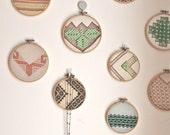 Vintage embroidered leaves wall art hoop