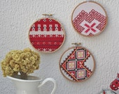 RED collection of three vintage embroidery wall art hoops