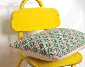 OOAK green cross stitch hand embroidered linen pillow cover