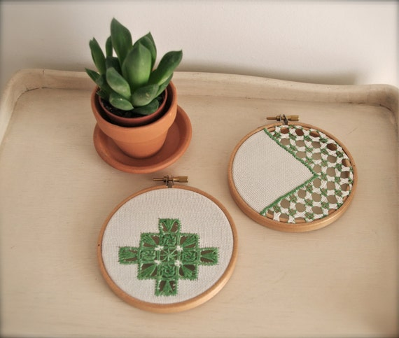 Green pair of vintage embroidery wall art hoops