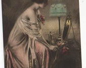 1917 Colour illustrated postcard showing a fashionable young woman at her toilette
