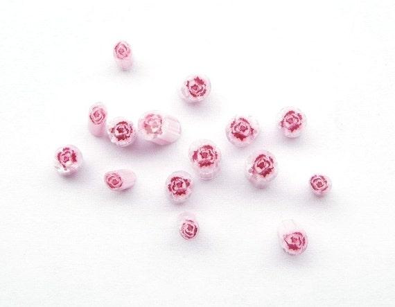 Pink rose murrini (15 pcs)