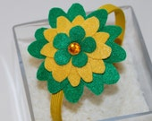 Green and Gold Felt Flower Headband