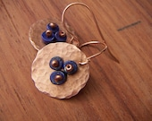 Hammered Copper Earrings with Lapis Heishis