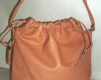 Leather Peach Purse Bellido Made in Spain