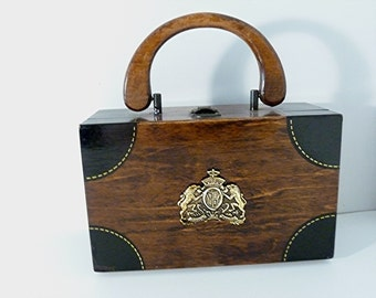 Coat of Arms Wood Box Purse