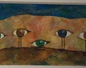 BIRDSEYE Acrylic painting on recycled fabric Canvas