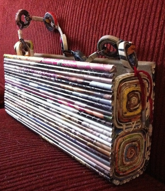 SIMONE - hand coiled rolled recycled paper clutch purse