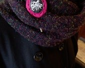 Cowl Neck Infinity Scarf with Gothic Love Birds Brooch