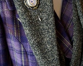 Mossey Green Cowl Neck Scarf with Peacock Feather Brooch
