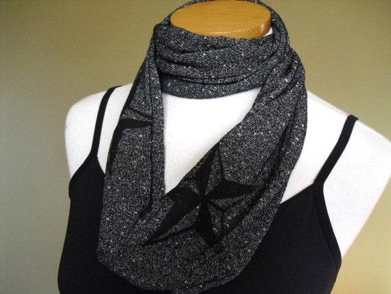 Light Weight Heather Grey Slub Knit Jersey Cowl Neck Scrarf with Screen Printed Black Nautical Star