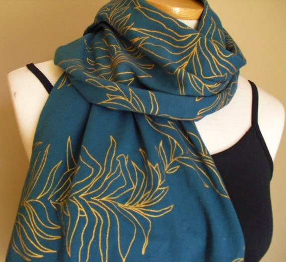 Teal jersey knit scarf/shawl screen printed with metalic copper leaves
