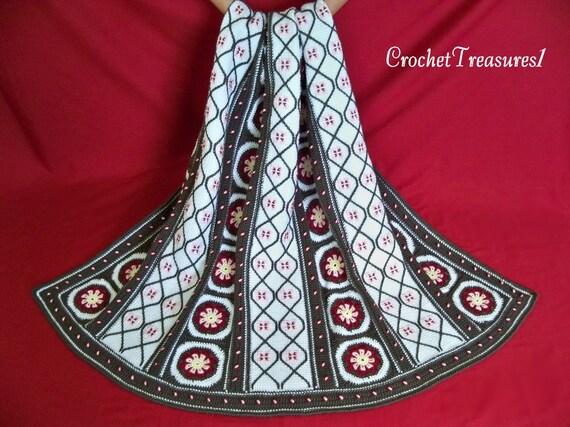 Evergreen Garden Afghan / new / handmade / unique / decorative / blanket / throw / flower / winter / green / white / red / pink / Christmas