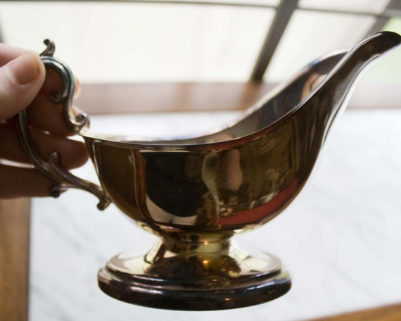 Charming Patina Vintage Gravy Boat in Silver