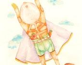 SALE- Superhero I (Captain C in watercolor pencil and paper cutouts)