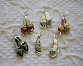 Shoe Charms Set of 6 Silver tone Enameled Sandals