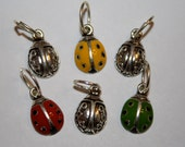 Ladybugs Set of 6 Silver Tone Charms Cute