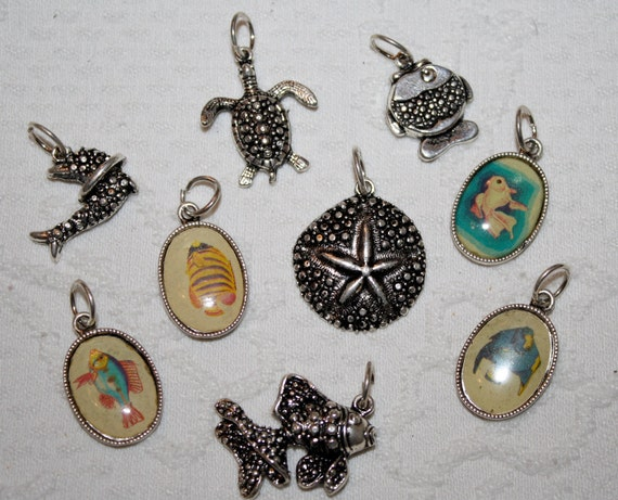 Set of 9 Sea Life Themed Silver Tone Charms