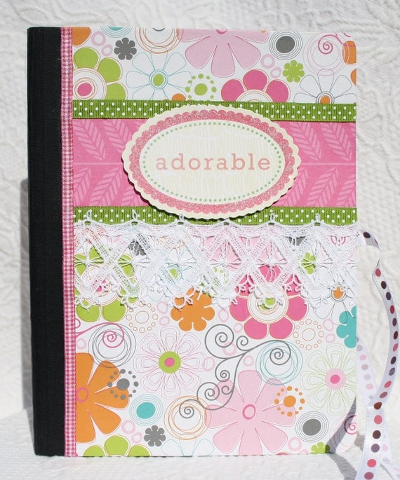 Upcycled  Adorable Pink Floral Feminine Notebook Journal Diary by My Cozy Cottage Designs