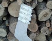 Shabby Ruffles Christmas Stocking CLEARANCE