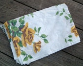 Vintage Fabric Floral Yellow Roses 35 inches by 52 inches