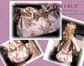 AVIATAUR Rose Bow Purse Bag Tote Sewing tutorial PDF Download