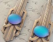 Moon Light - Luscious Blue Violet ART DECO Vintage Brass EARRINGS