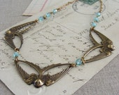 Bird Necklace - Swallow Song - Vintage Brass Aqua Blue Crystal - Handmade