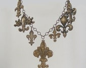 Necklace French Fleur De Lis Vintage Brass Charms Handmade Luxe
