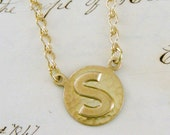 Necklace Letter S - Vintage Brass Initial Letter S  NECKLACE - Under 25