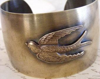 Vintage Bracelet - Cuff Bracelet - Statement Bracelet - Bird Jewelry - Brass Bracelet - handmade jewelry