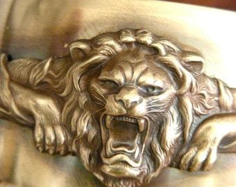Vintage Bracelet - Cuff Bracelet - Statement Bracelet - Vintage Brass - Lion Bracelet - Handmade Jewelry