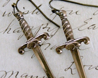 Vintage Earrings - Dagger Earrings -  Knife Earrings - Vintage Brass jewelry - Daninty earrings - handmade jewelry