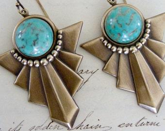 Art Deco Earrings - Vintage Earrings - Turquoise Earrings - December Birthstone - handmade jewelry