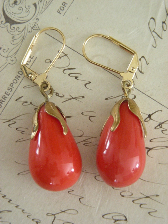 Art Nouveau Earrings Vintage Glass Coral Red - Last Pair