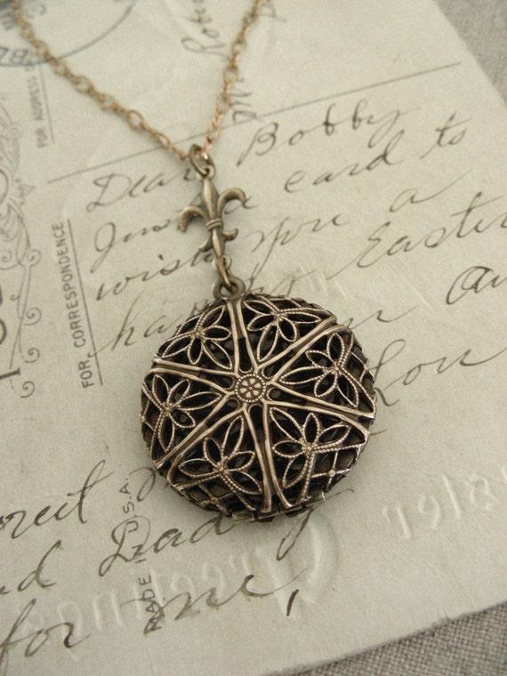 JULIE SHIPPING RESERVE - Perfume Locket Fleur De Lis Necklace - Vintage Brass  Filigree Locket  Necklace