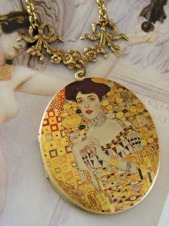 Art Nouveau Locket Necklace - Vintage Brass - Artist Klimt - Handmade