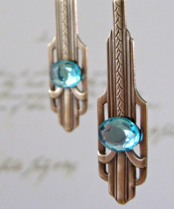 Vintage Earrings - Aquamarine Earrings - Art Deco jewelry - Vintage Brass jewelry - March Birthstone - handmade jewelry