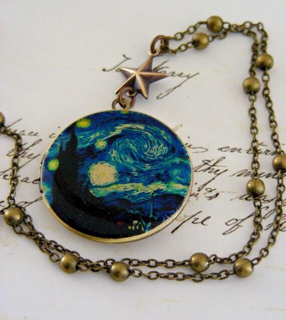 Locket Necklace Starry Night Van Gogh Retro Vintage