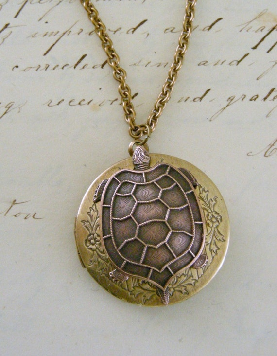 Locket Necklace -Turtle Vintage Brass Necklace by Chloes Vintage Jewelry - Under 40