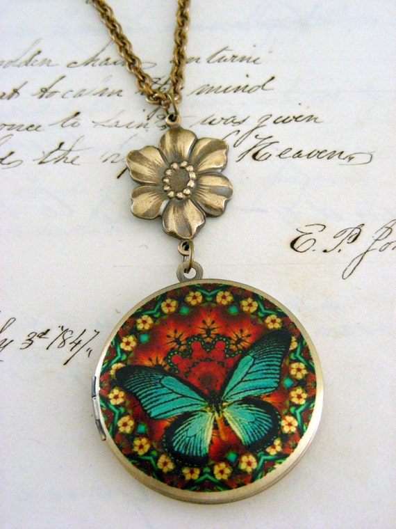 Locket Necklace Butterfly Turquoise Blue  Vintage Necklace - Under 30